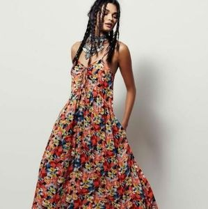 Free People Mulberry keyhole floral maxi dress Med